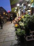 Gångare strosar förbi den Paris blomsterhandlaren shoppar på en vinterafton Royaltyfri Bild