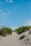 Gångbana över dyn till stranden Arkivbilder