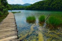 Gångbana i Plitvice sjönationalpark Royaltyfri Foto