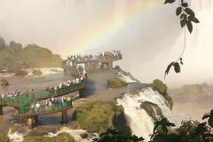 Gångbana i vattenfall Fotografering för Bildbyråer