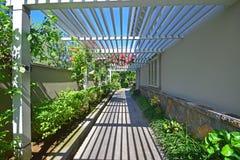 Gångbana med verandan som halvt öppet trätak Arkivbilder