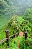 Gångbana till den Tad Yuang vattenfallet royaltyfri fotografi