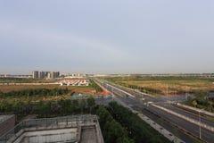 gångtunnel för beijing bilpassagerare arkivbild
