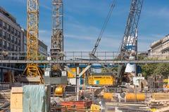 Gångtunnel för realisation för konstruktionsplats ny i Berlin royaltyfria foton