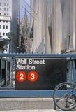 Gångtunnelstation vid Wall Street, New York City, NY Royaltyfria Bilder