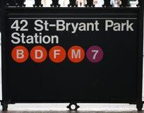 Gångtunneltecken på Bryant Park Royaltyfria Foton