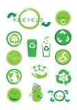 Uppsättning av ekologisymbolen för räddning världen Royaltyfri Fotografi
