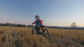 Går caucasian barn ett med cykeln i vetefält Liten flicka som går den svarta orange cirkuleringen på bakgrund av härligt arkivfoto