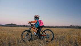 Går caucasian barn ett med cykeln i vetefält Liten flicka som går den svarta orange cirkuleringen på bakgrund av härligt arkivbild