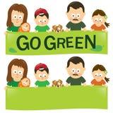 Går den gröna familjen Arkivbilder