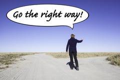 Går den högra vägen Fotografering för Bildbyråer