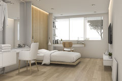 går det vita sovrummet för tolkningen 3d med sminktabellen nära i garderob Arkivbilder