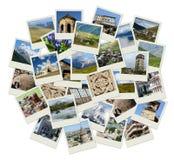 Går Georgia - central Asien collage med foto av gränsmärken Royaltyfri Fotografi