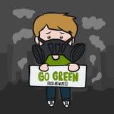 Går grön ny luft önskade för denförorening för mankläder illustrationen för vektorn för tecknade filmen maskeringen vektor illustrationer