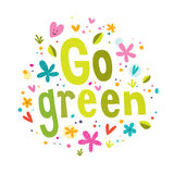 Går grön text Arkivfoto