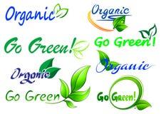 Går gröna symboler och symboler stock illustrationer