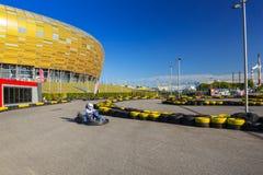Går kartspåret på den Energa stadion Arkivfoto