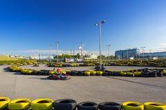 Går kartspåret på den Energa stadion i Gdansk Royaltyfria Foton