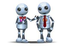 Går liten robot två som en affärspartner stock illustrationer