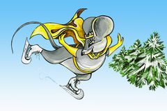 går musen som åker skridskor till royaltyfri illustrationer