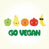 Går strikt vegetariantecknad filmfrukter Arkivfoton