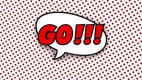 Går text i anförandeballong i den komiska stilanimeringen, 4K stock illustrationer