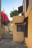 Gård i den gamla staden Rhodes ö Grekland Arkivfoton