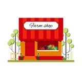 Gårdsprodukten shoppar i plan stil infographic element Marknadssymbolen med ställer ut isolerat på vit bakgrund Arkivbilder