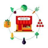 Gårdsprodukten shoppar i plan stil - vektorillustrationmateriel Arkivfoto