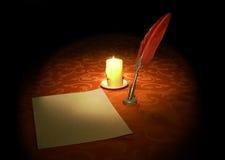 Gåsfjäder, stearinljus och pappersark Arkivfoto
