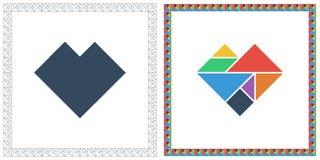 Gåta för HUS för Tangramhjärna modig och att svara den plana illustrationen för UI-färgvektor royaltyfri illustrationer