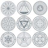 Gåta häxeri som är ockult, alkemi, för vektortatuering för mystisk tappning gotiska symboler royaltyfri illustrationer