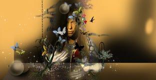 Gåtakvinna med vithänder och mörkt hår Arkivfoton