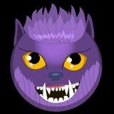 Gåva eps ai för vän för wolfman för emoticons för varulv för framsida för smiley för emoji för vektorhalloween monster royaltyfri illustrationer