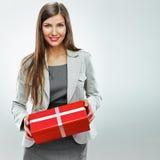 Gåva för affärskvinna Vit bakgrund royaltyfria bilder