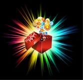 gåva för födelsedagkortjul stock illustrationer