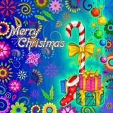Gåva för för ferieberöm för glad jul bakgrund Arkivbild