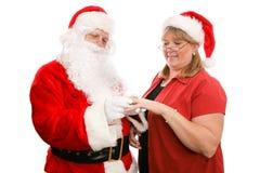 Gåva för fru Santa Claus Arkivbilder