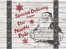 Gåva för jul Handdrawing santas för special leverans Royaltyfri Foto