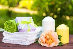 Gåva för kvinna` s Tvål-, handduk- och blommasnowdrops aromatherapy massage Internationell dag för kvinna` s arkivfoton