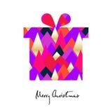 Gåva för ` s för nytt år med kulöra trianglar Glad julkort stock illustrationer