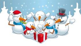 Gåva för snowmens Fotografering för Bildbyråer