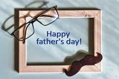 Gåva farsa som är lycklig, bakgrund, kort, hälsning, förälskelse, mustasch, gåva, fader, beröm, symboler som är handgjorda, Arkivbild