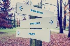 Gåva-, framtids- och forntidsbegrepp Arkivfoton