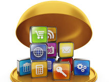Gåva i form av mobila applikationer Arkivbild