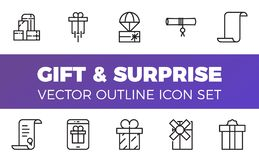 Gåva- och överraskningsymboler ställer in, skisserar stil Royaltyfria Bilder