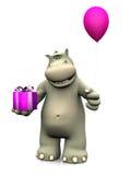 Gåva och ballong för födelsedag för tecknad filmflodhäst hållande Royaltyfri Foto