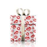 Gåva och kyss Fotografering för Bildbyråer