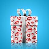 Gåva och kyss Royaltyfri Fotografi