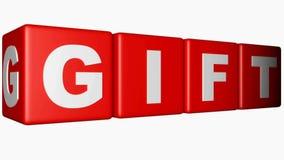 GÅVA på röda kuber - video för tolkning 3D stock illustrationer